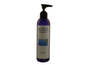 All of our lotions are available in travel, 4, and 8 oz. sizes.